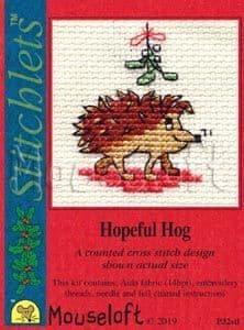 Mouseloft Hopeful Hog Card Christmas Stitchlets cross stitch kit